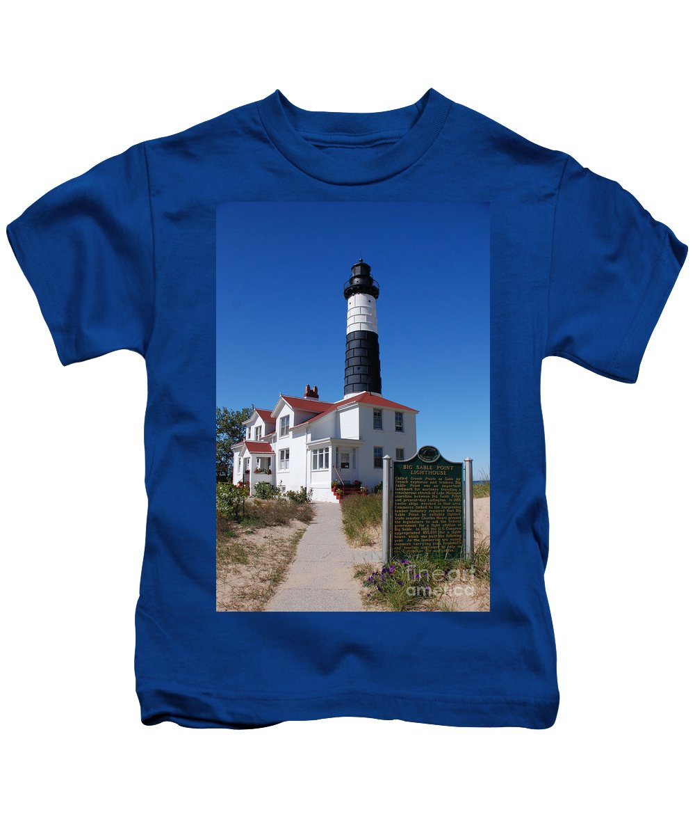 Lighthouse Kids T-Shirt featuring the photograph Big Sable Point Lighthouse by Grace Grogan