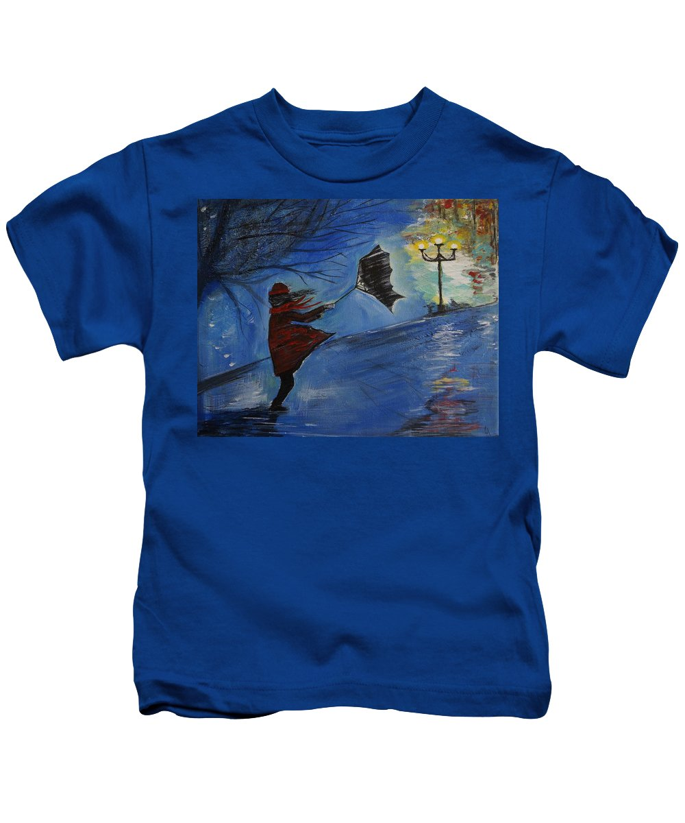 Woman Art Kids T-Shirt featuring the painting Blown Away by Leslie Allen