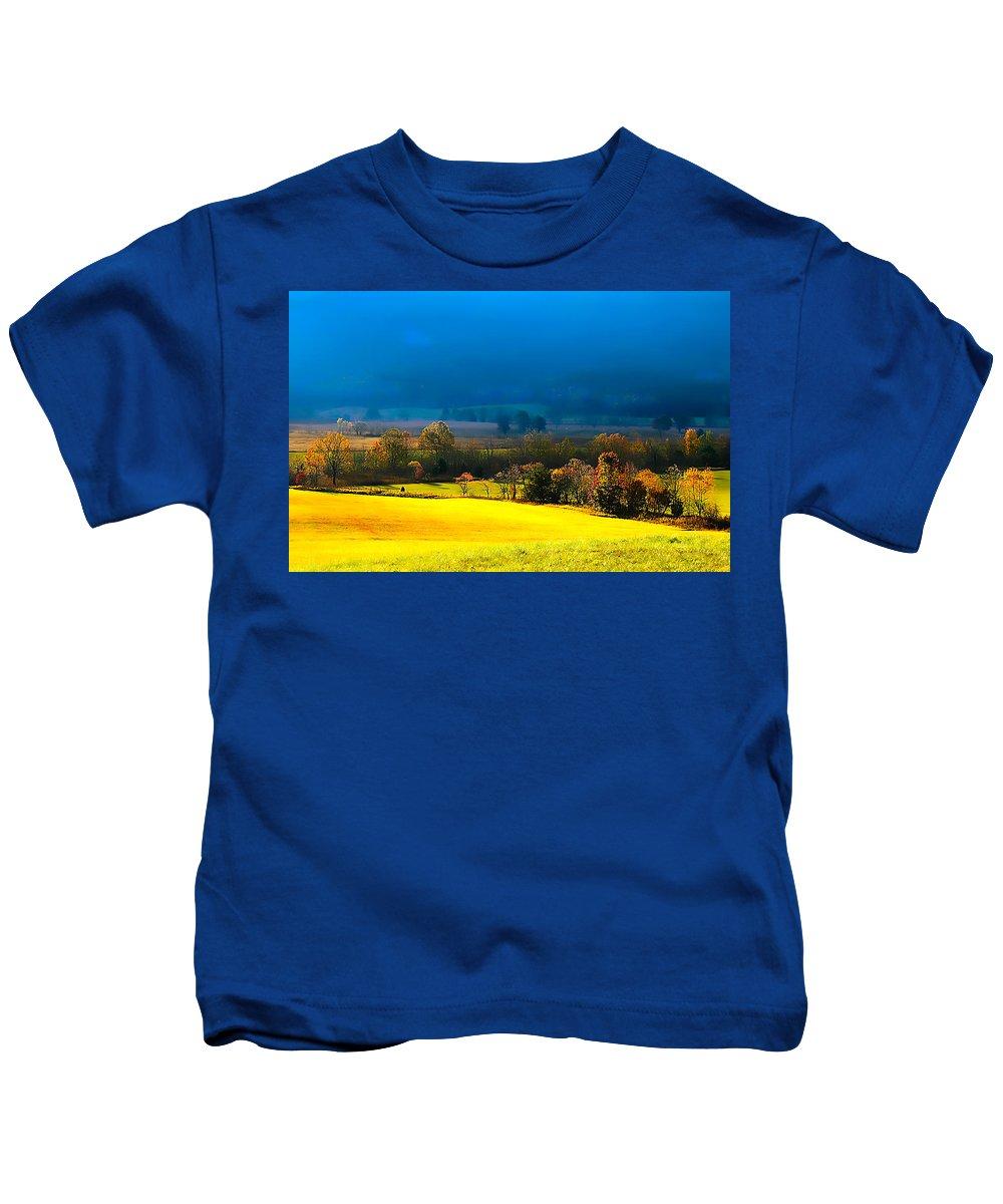 Blue Morning By Branham Kids T-Shirt featuring the photograph Blue Morning by Randall Branham
