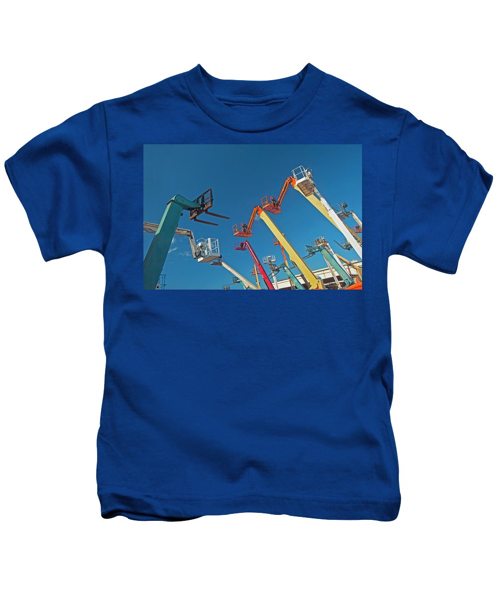Architectural Art Kids T-Shirt featuring the photograph Boomlifts Abstract by David Cornwell - Printscapes