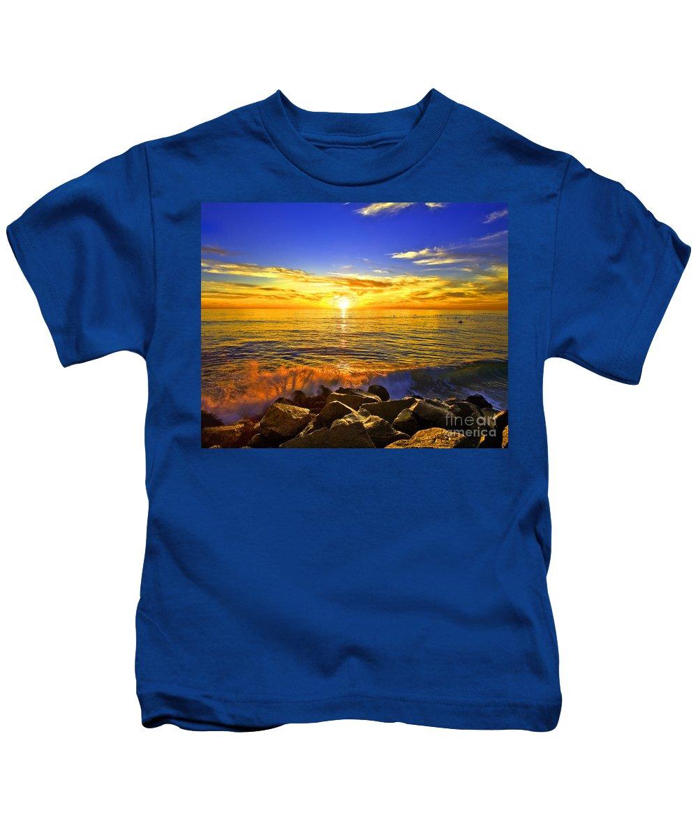 Sunset Kids T-Shirt featuring the photograph California Sunset by Daniel Knighton