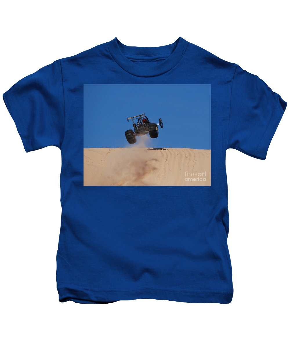 Dune Buggy Kids T-Shirt featuring the photograph Dune Buggy Jump by Grace Grogan