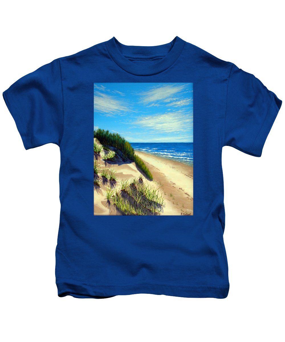 Seascape Kids T-Shirt featuring the painting Dunes At Dalvay by Rick Gallant