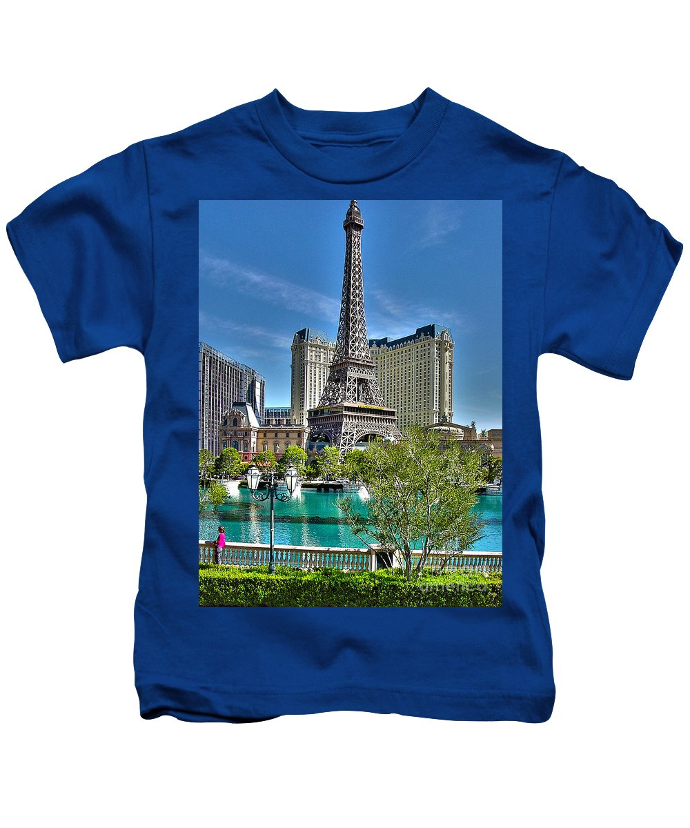 Eiffel Tower Kids T-Shirt featuring the photograph Eiffel Tower And Reflecting Pond by Jack Schultz