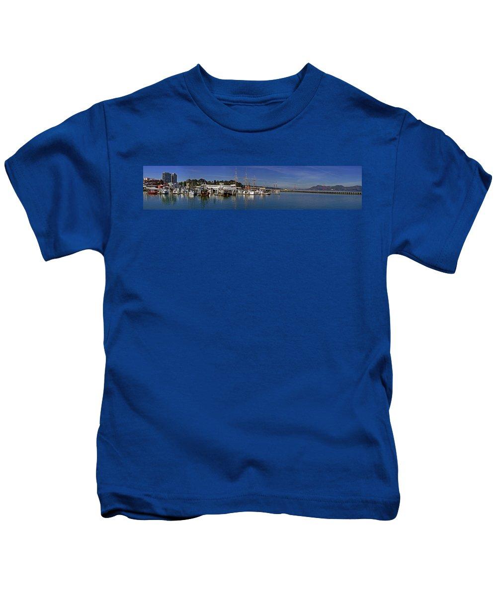 Panoramic Kids T-Shirt featuring the photograph Fisherman's Wharf by S Paul Sahm