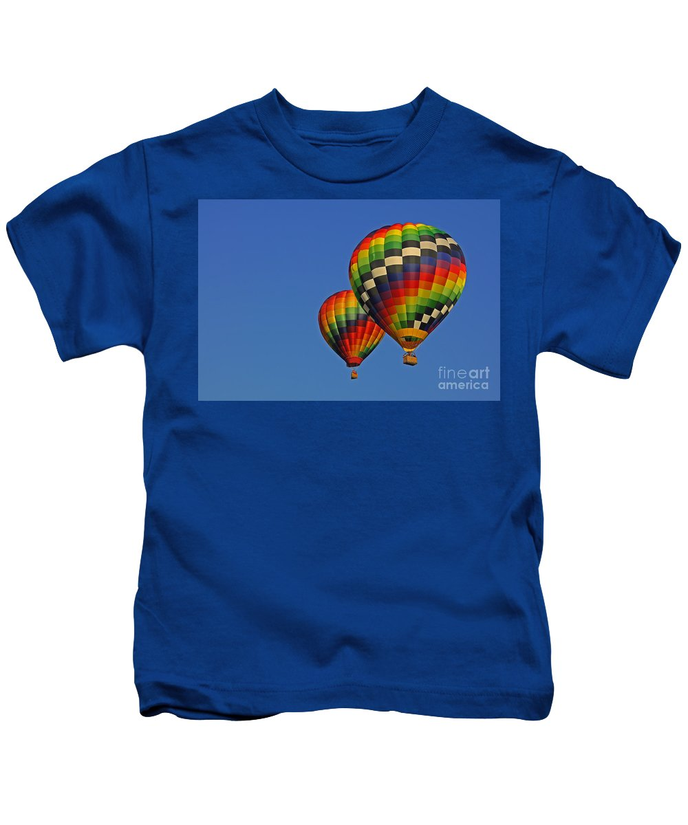 Hot Air Balloon Kids T-Shirt featuring the photograph Fraternal Twin Balloons by Benanne Stiens