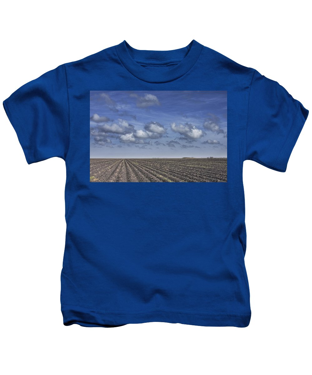 Art Kids T-Shirt featuring the photograph Furrows In A Texas Field by Randall Nyhof