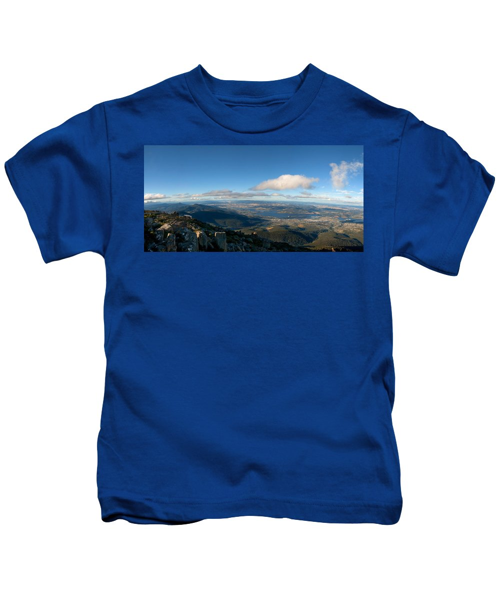 Aerial Kids T-Shirt featuring the photograph Hobart Tasmania Mount Wellington by U Schade