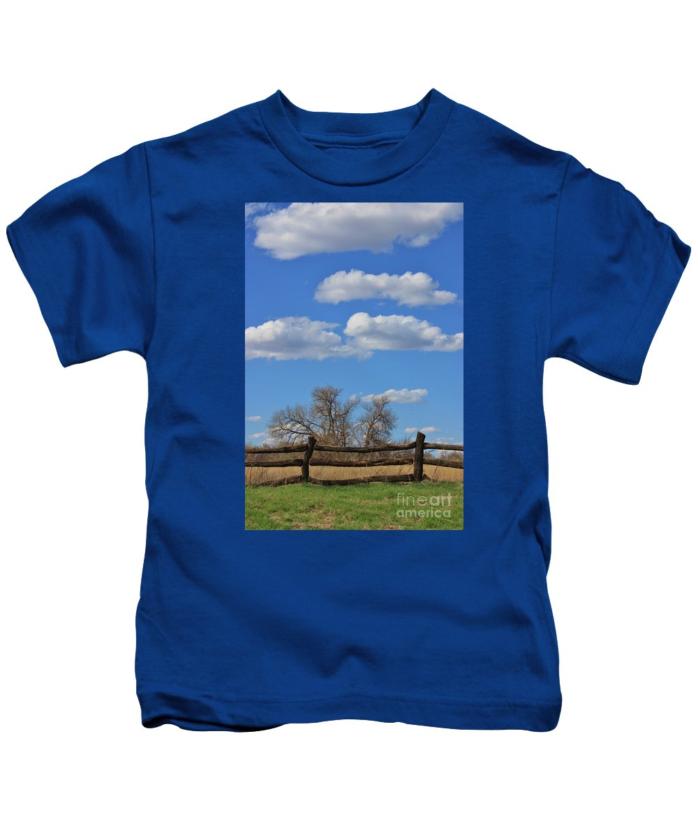 Sky Kids T-Shirt featuring the photograph Kansas Country Wooden Fence With Blue Sky And Cloud's by Robert D Brozek