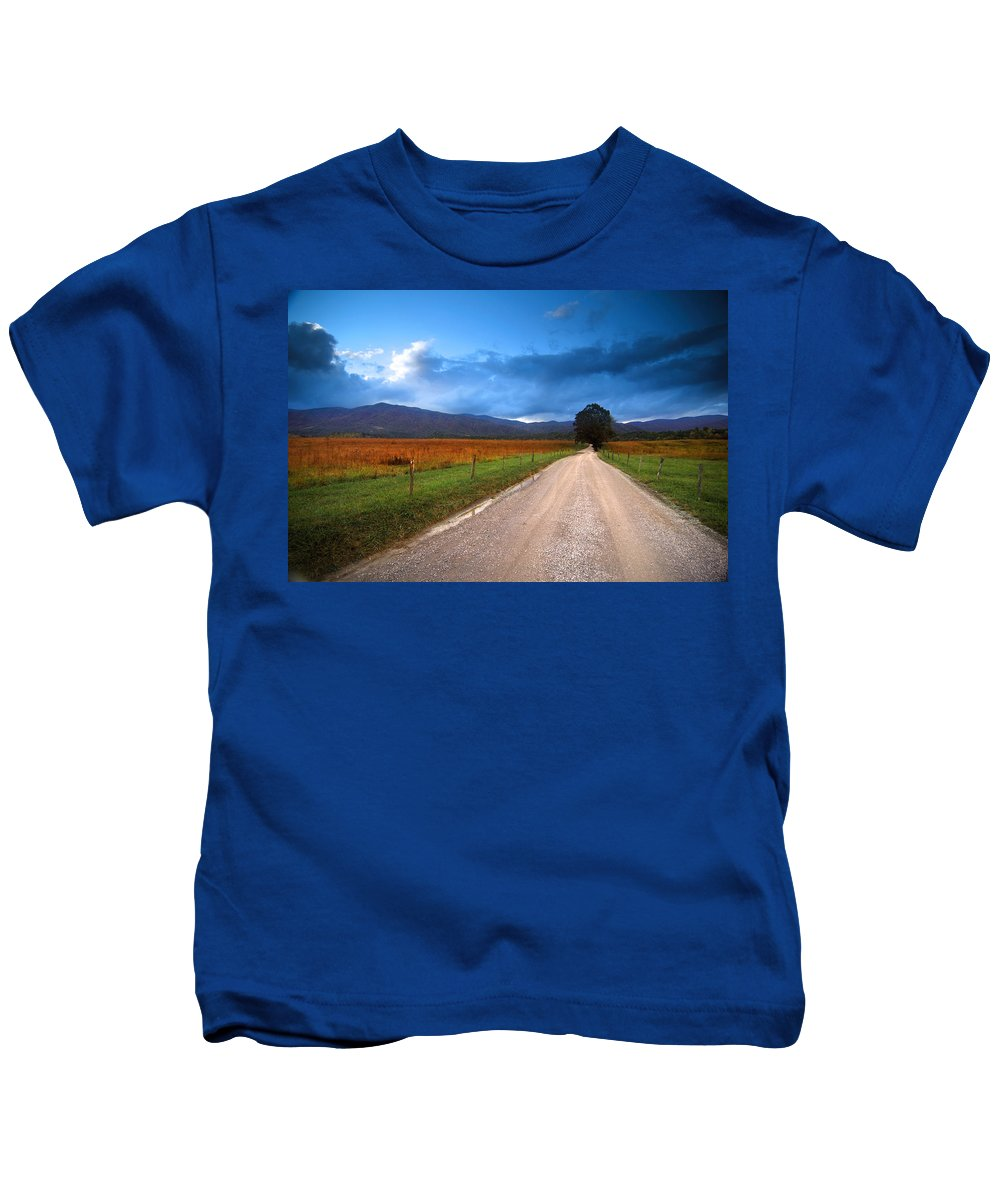 Cades Cove Oct 25 Lane Kids T-Shirt featuring the photograph Lane Across Valley by Randall Branham
