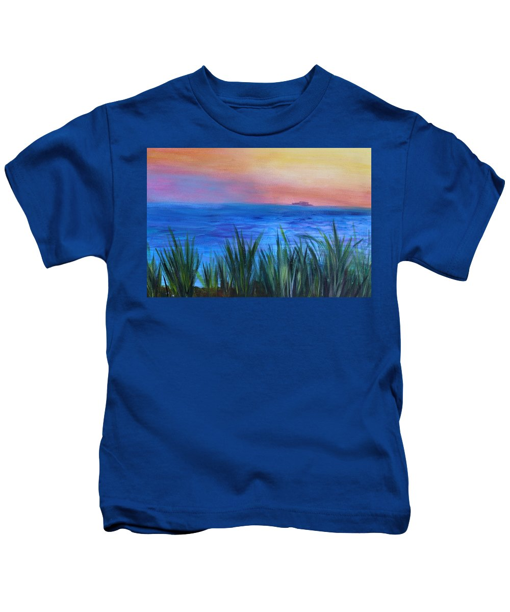 Beach Grass Kids T-Shirt featuring the painting Long Island Sound Sunset by Donna Walsh