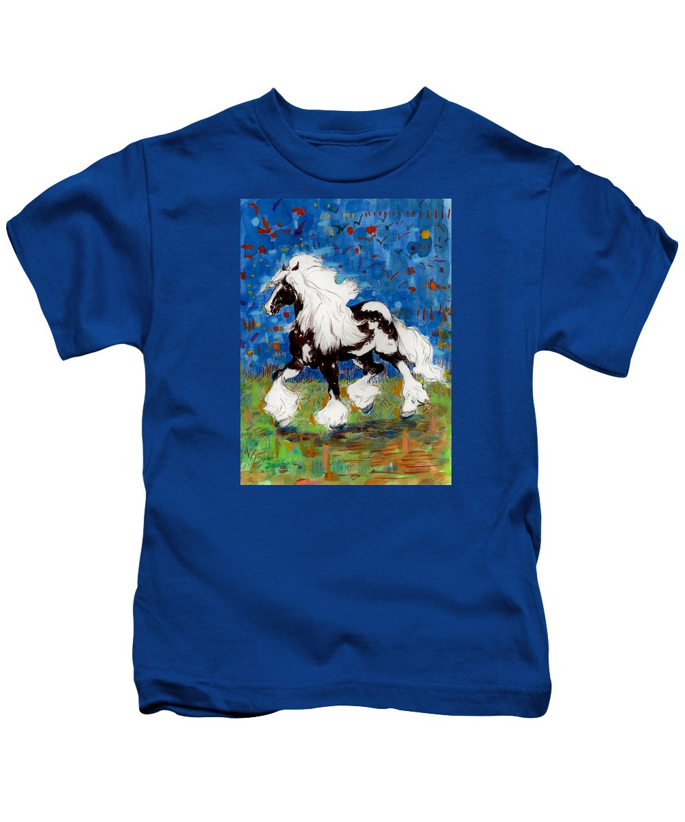 Horses Kids T-Shirt featuring the painting Majestic One by Mary Armstrong
