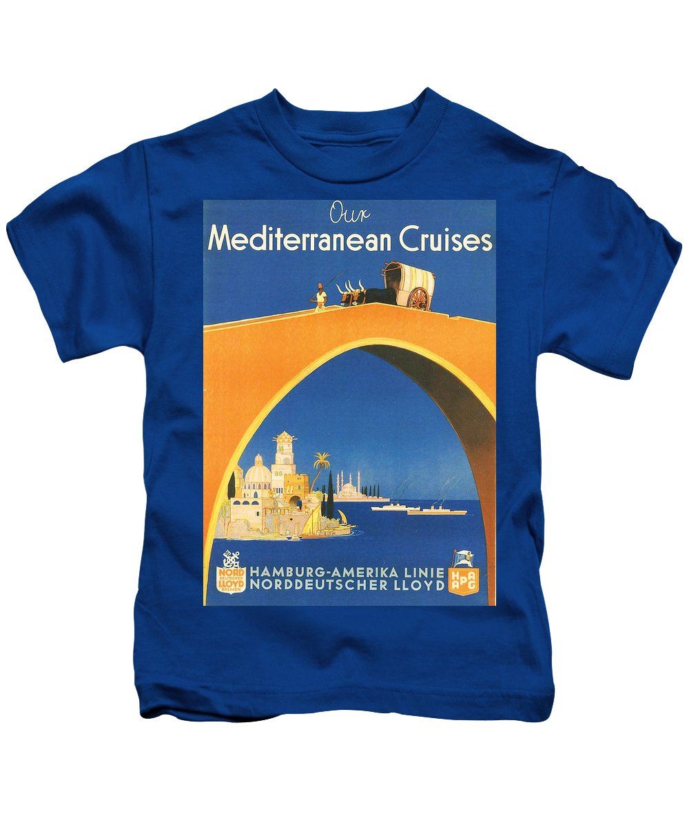 Aegean Kids T-Shirt featuring the digital art Mediterranean Cruising by Georgia Fowler