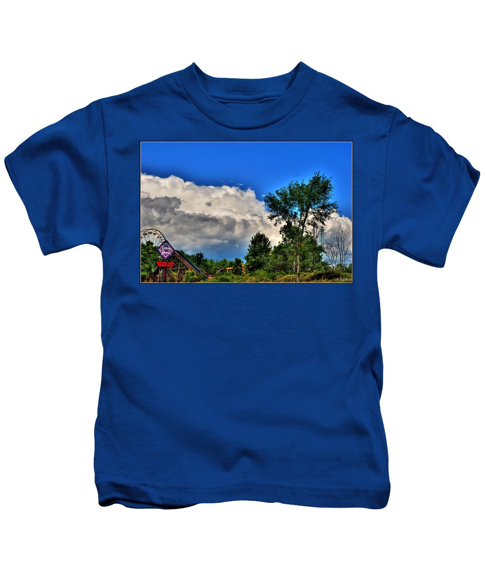 Kids T-Shirt featuring the photograph Passing Fantasy Island 55mph by Michael Frank Jr