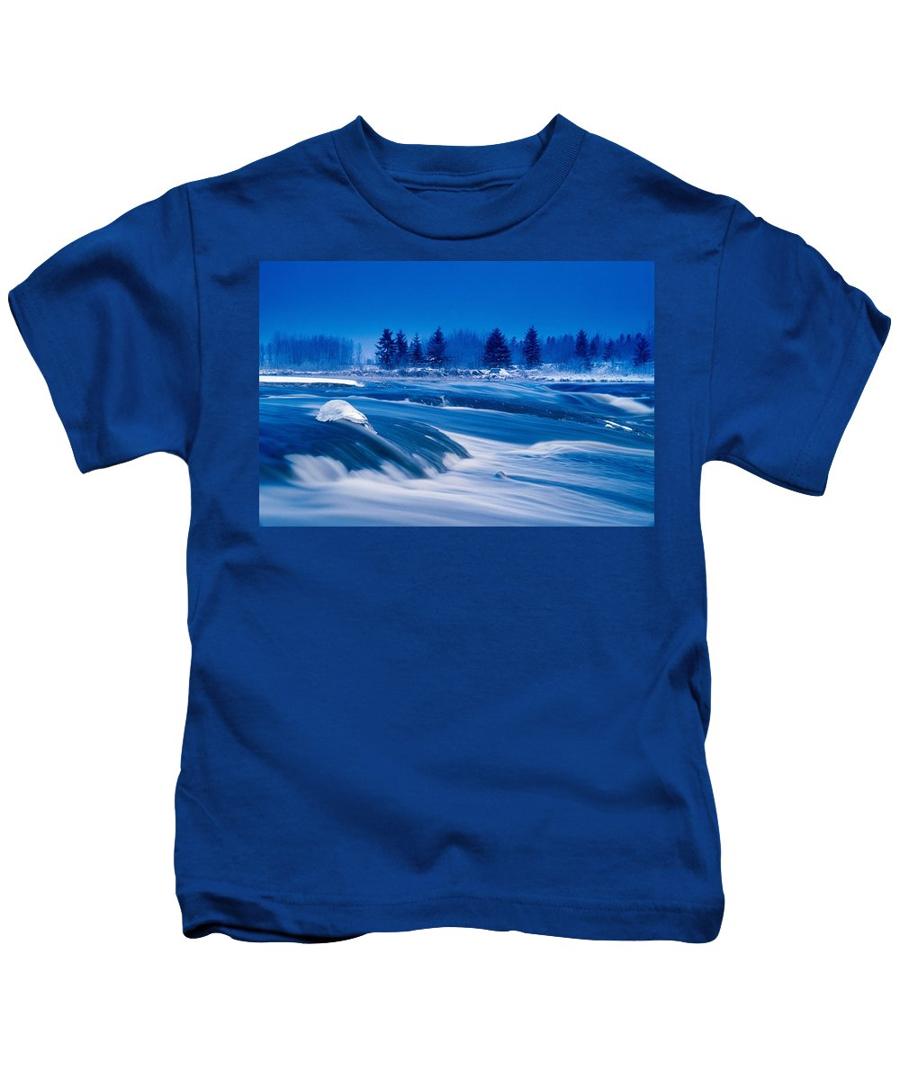 Colour Image Kids T-Shirt featuring the photograph Pinawa Channel, Manitoba by Dave Reede