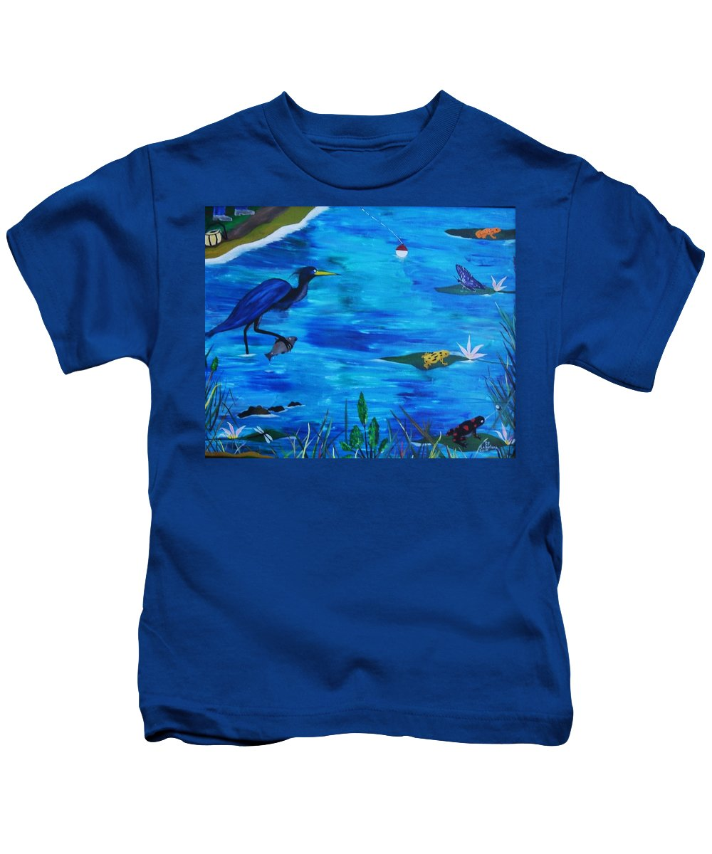 Wildlife Kids T-Shirt featuring the painting Psychedelic Bayou by Paul F Labarbera