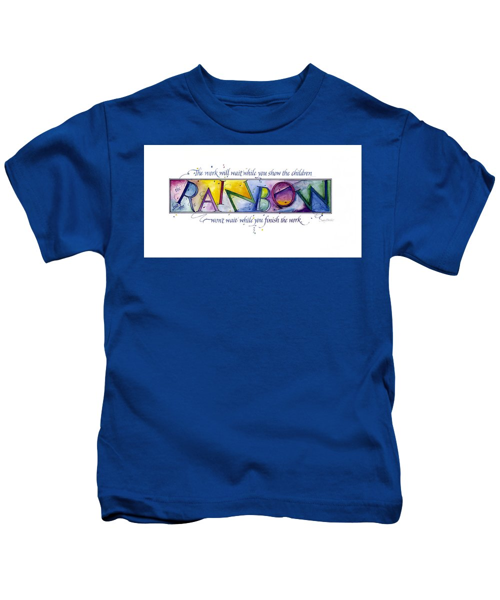 Adoption Kids T-Shirt featuring the painting Rainbow by Judy Dodds