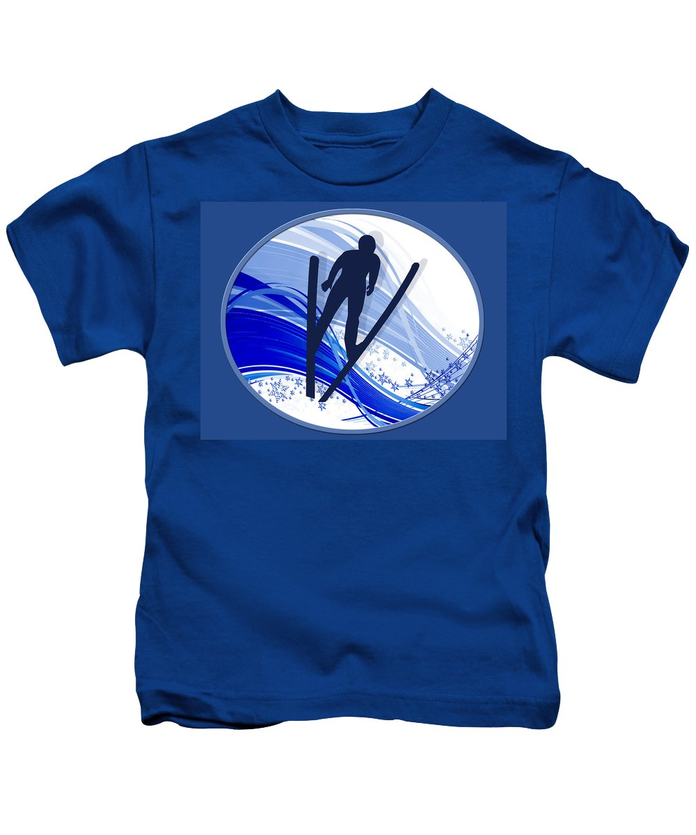 Ski Kids T-Shirt featuring the painting Skiing And Snowflakes by Elaine Plesser