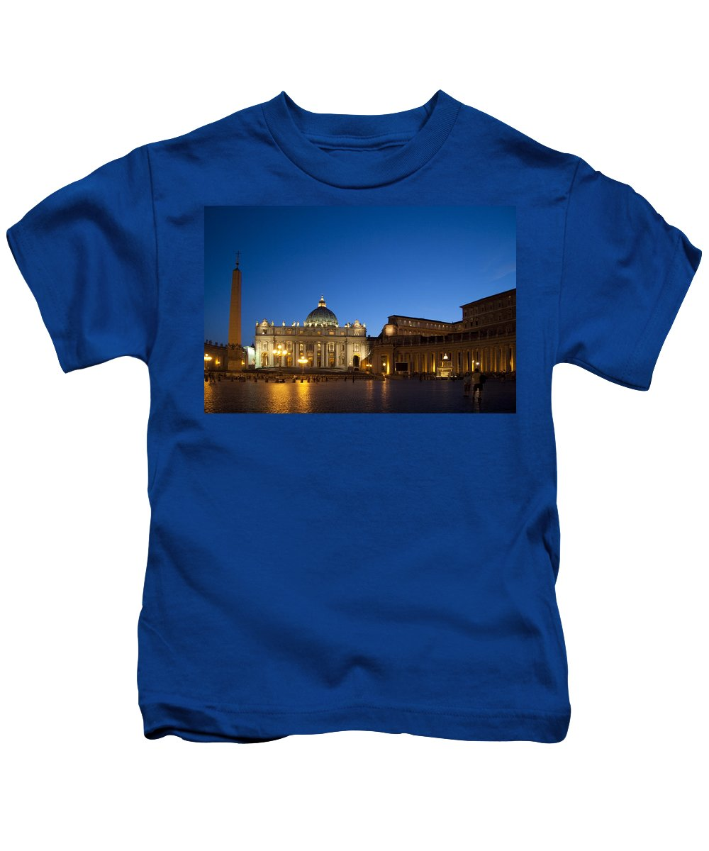 St. Peters Square Kids T-Shirt featuring the photograph St. Peter's Basilica At Night by David Smith