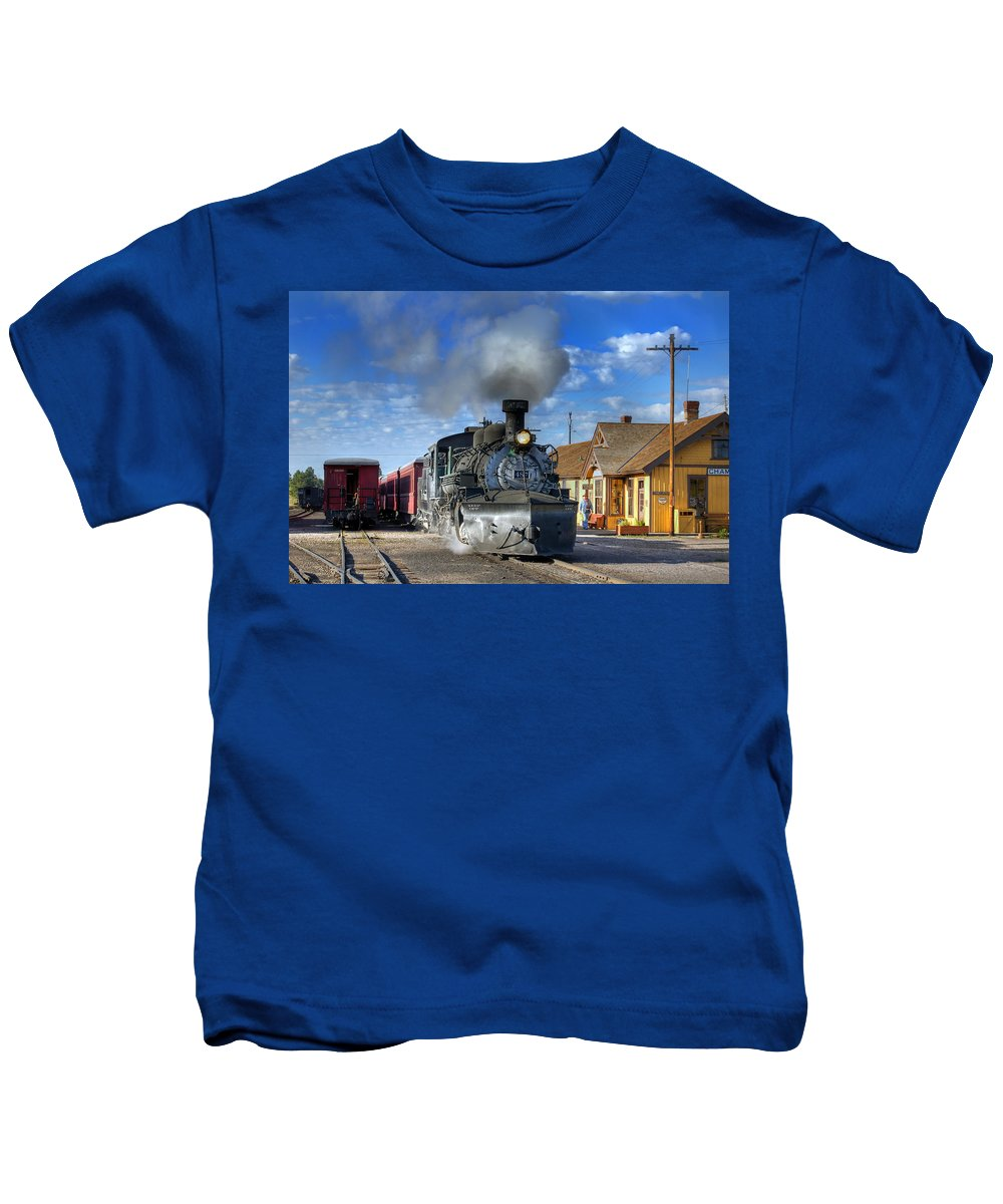 Steam Train Photographs Kids T-Shirt featuring the photograph The Morning Special by Ken Smith