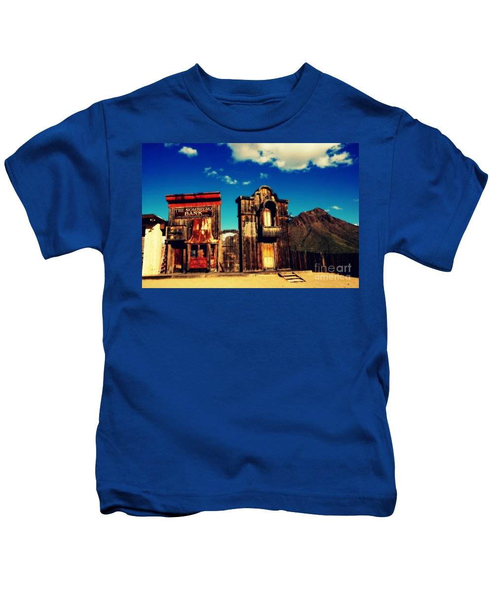 Sombrero Bank Kids T-Shirt featuring the photograph The Sombrero Bank In Old Tuscon Arizona by Susanne Van Hulst