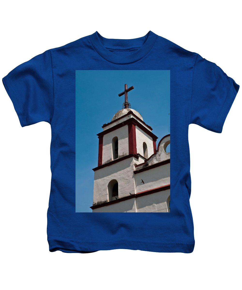 Fortin De Las Flores Kids T-Shirt featuring the photograph Tower And Cross by Robert Swinson