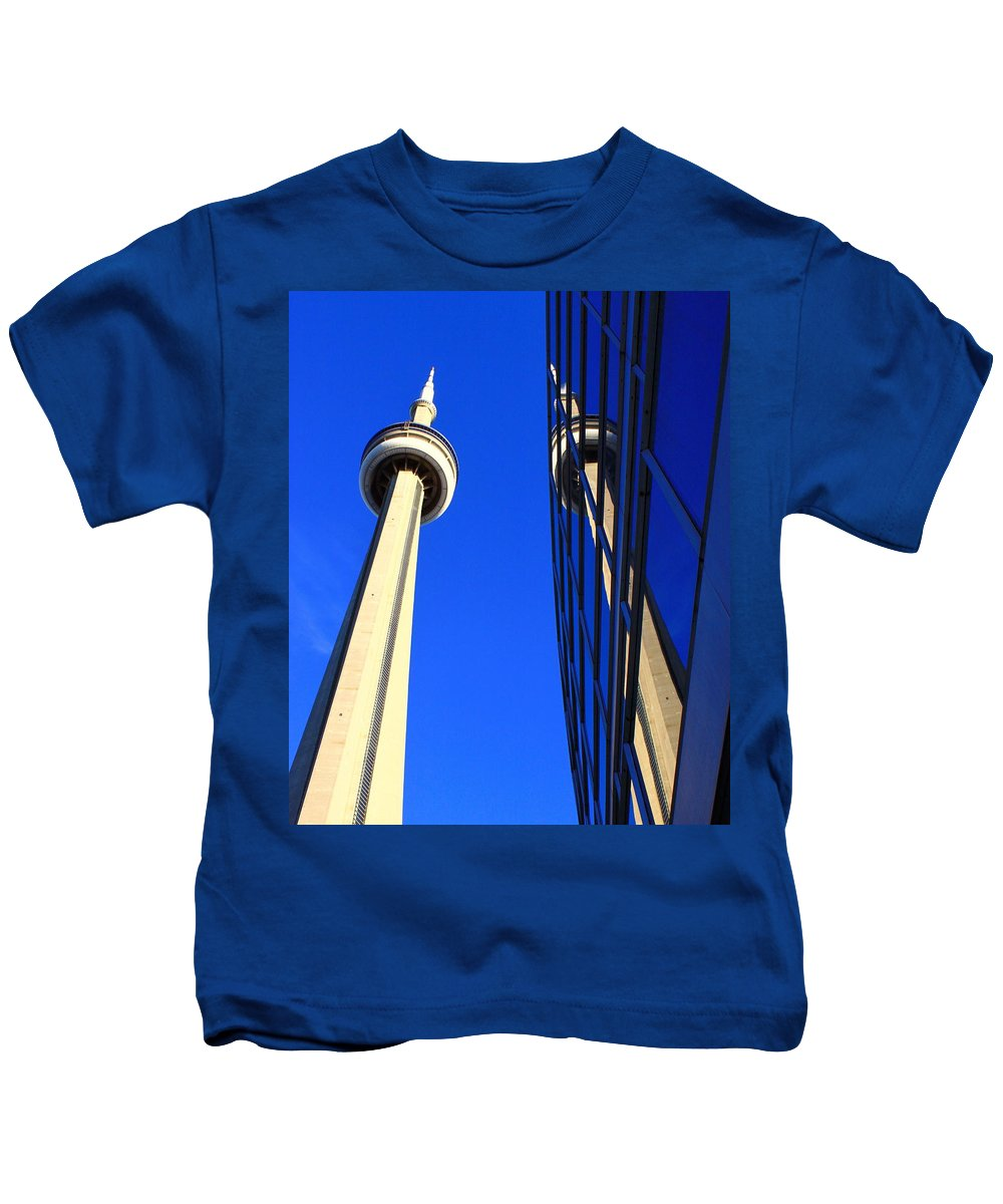 Cn Kids T-Shirt featuring the photograph Two Towers by Valentino Visentini