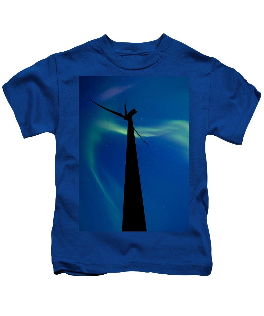 Wind Farm Kids T-Shirt featuring the digital art Wind Farm And Northern Lights by Mark Duffy