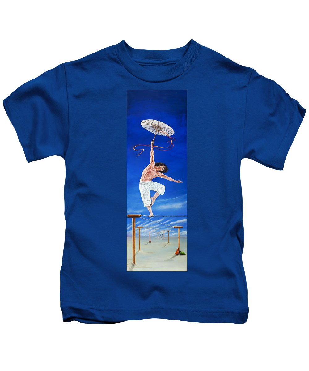 Surreal Kids T-Shirt featuring the painting Young Lovers Meet- Boy by Cindy D Chinn