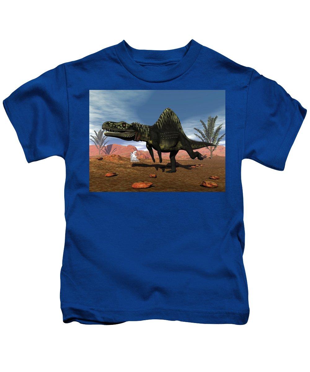 Dinosaur Kids T-Shirt featuring the digital art Arizonasaurus Dinosaur - 3d Render by Elenarts - Elena Duvernay Digital Art