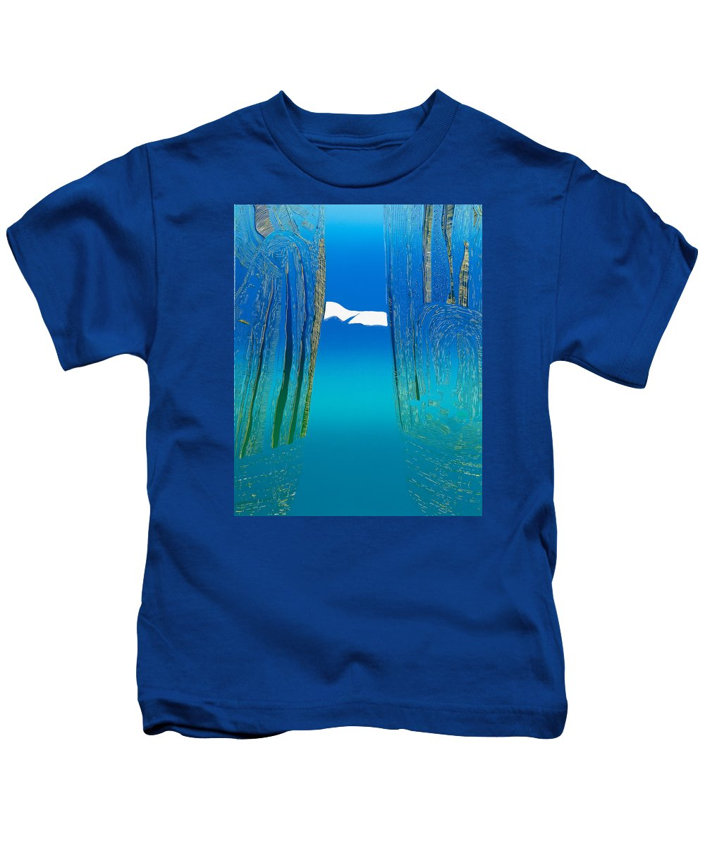 Landscape Kids T-Shirt featuring the mixed media Between Two Mountains. by Jarle Rosseland