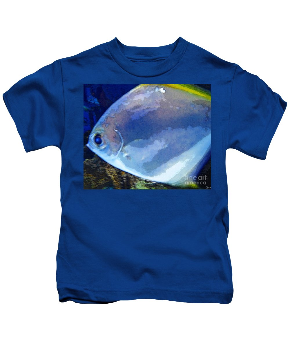 Art Kids T-Shirt featuring the painting Blue Fish by David Lee Thompson