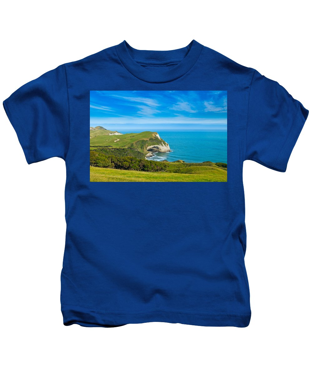 Background Kids T-Shirt featuring the photograph Cape Farewell Able Tasman National Park by U Schade