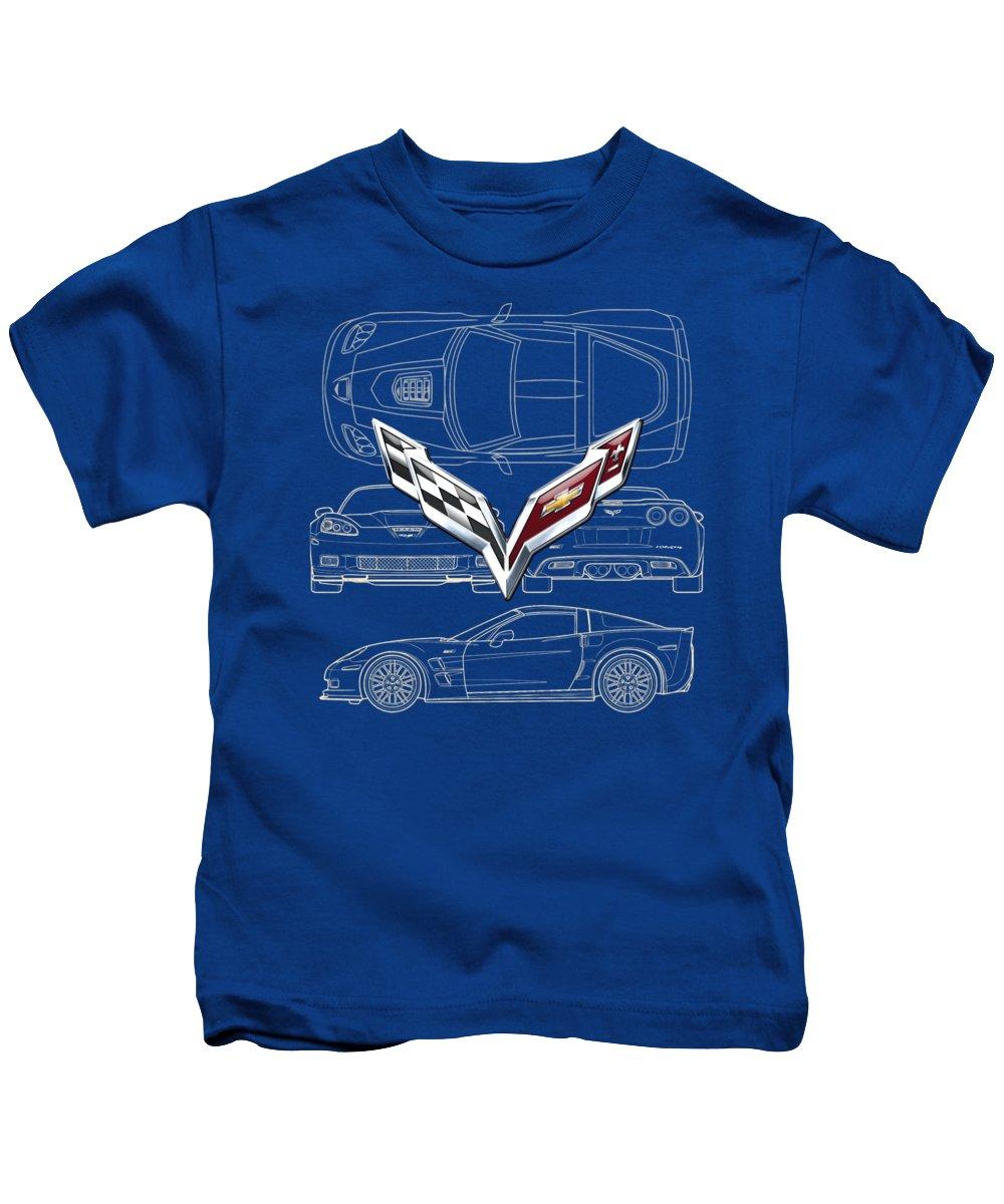 �wheels Of Fortune� By Serge Averbukh Kids T-Shirt featuring the photograph Chevrolet Corvette 3 D Badge over Corvette C 6 Z R 1 Blueprint by Serge Averbukh