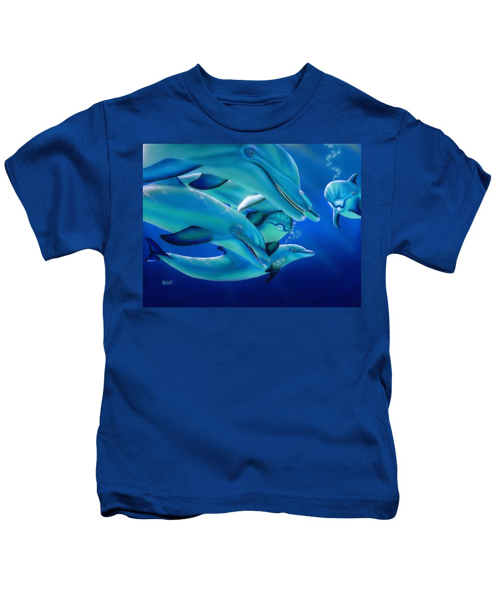 Blue Kids T-Shirt featuring the painting Curiosity by Angie Hamlin