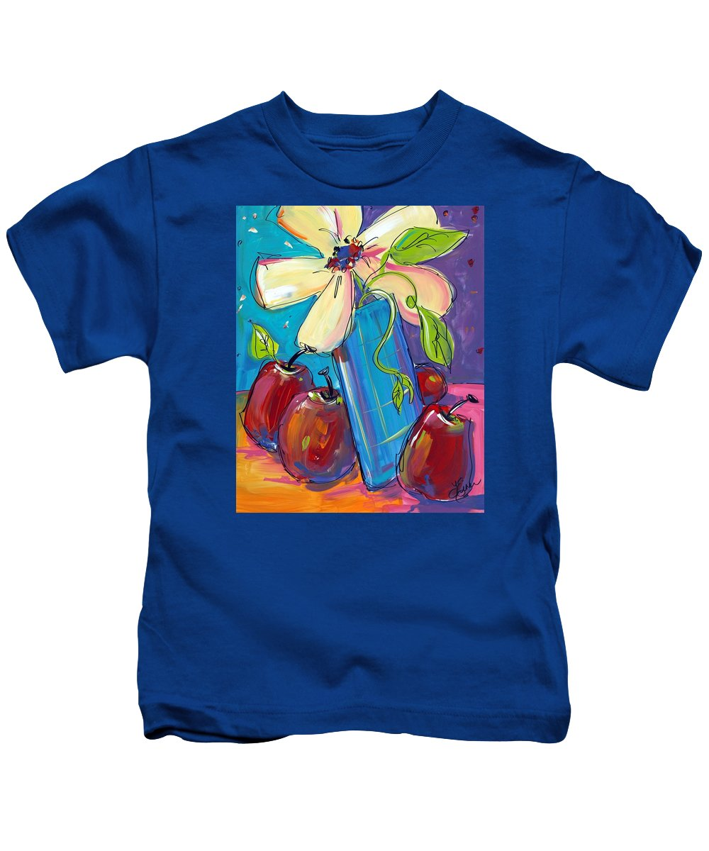 Flowers Kids T-Shirt featuring the painting Dance With Me by Terri Einer