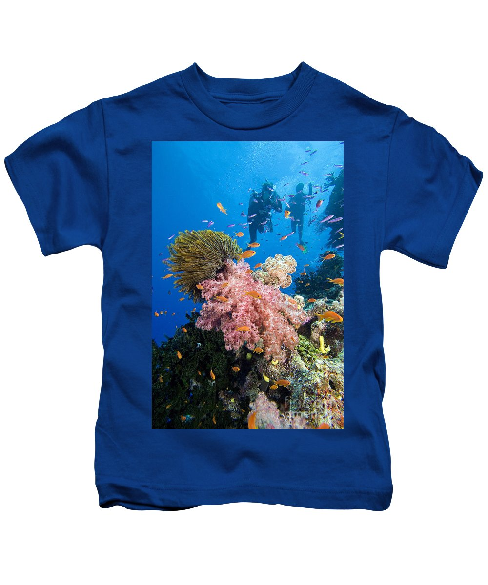 Alcyonarian Kids T-Shirt featuring the photograph Fiji Underwater by Dave Fleetham - Printscapes