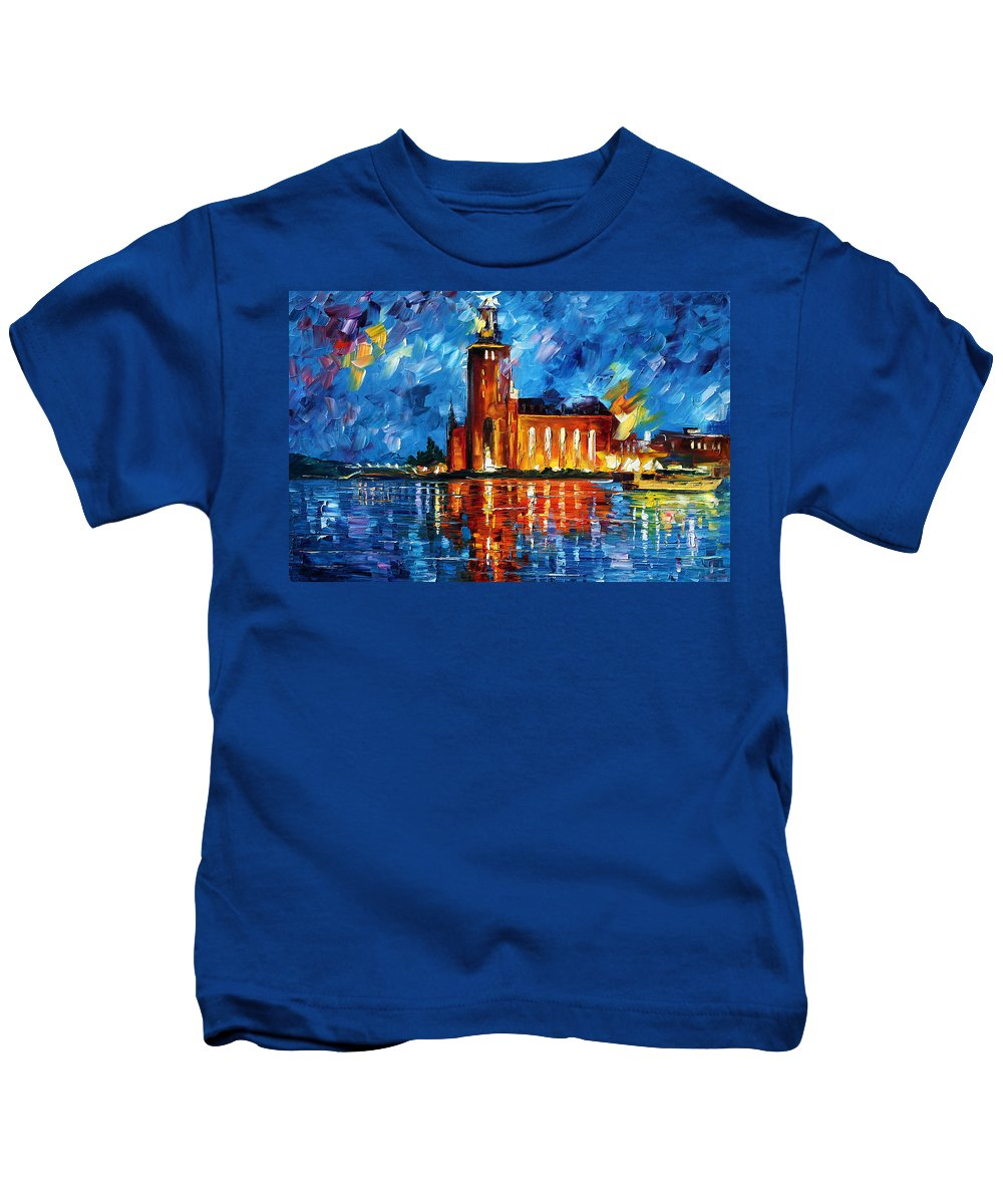 Boat Kids T-Shirt featuring the painting Lighthouse by Leonid Afremov