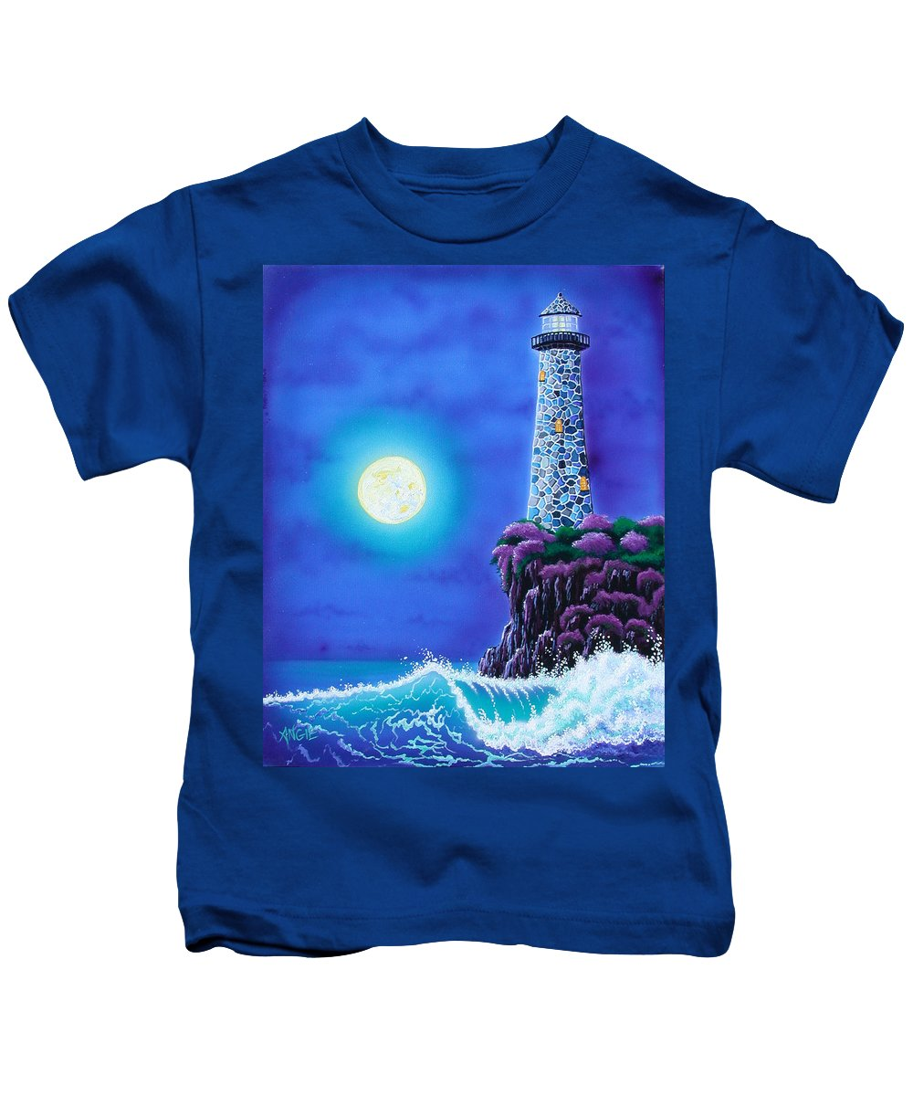 Lighthouse Kids T-Shirt featuring the painting Moonlight Vigil by Angie Hamlin