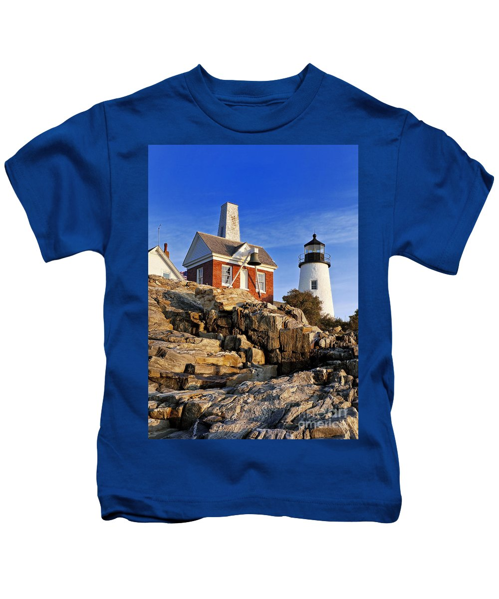 Maine Kids T-Shirt featuring the photograph Pemaquid Point Lighthouse by John Greim