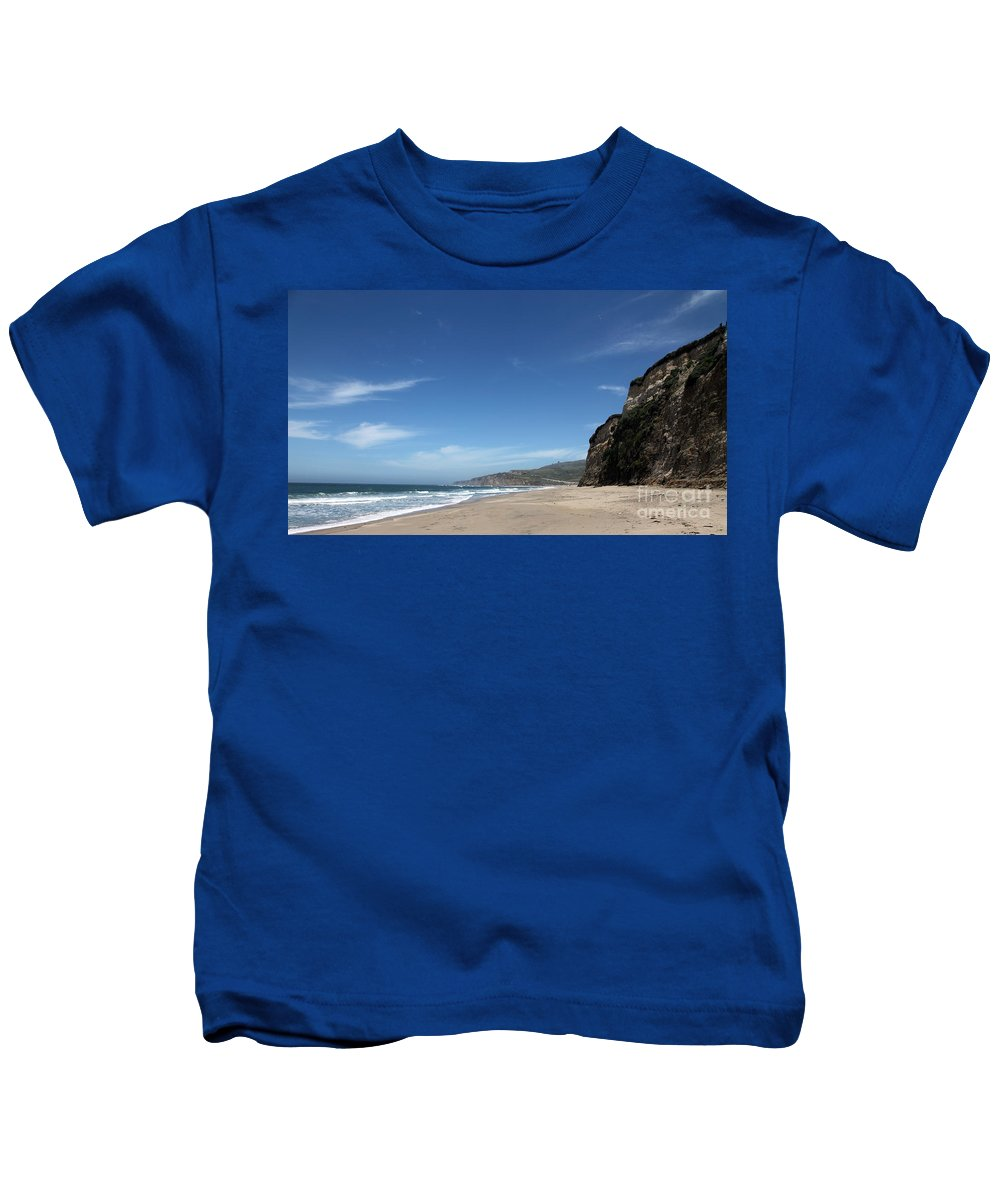 scott Creek Beach Kids T-Shirt featuring the photograph Scott Creek Beach California Usa by Amanda Barcon