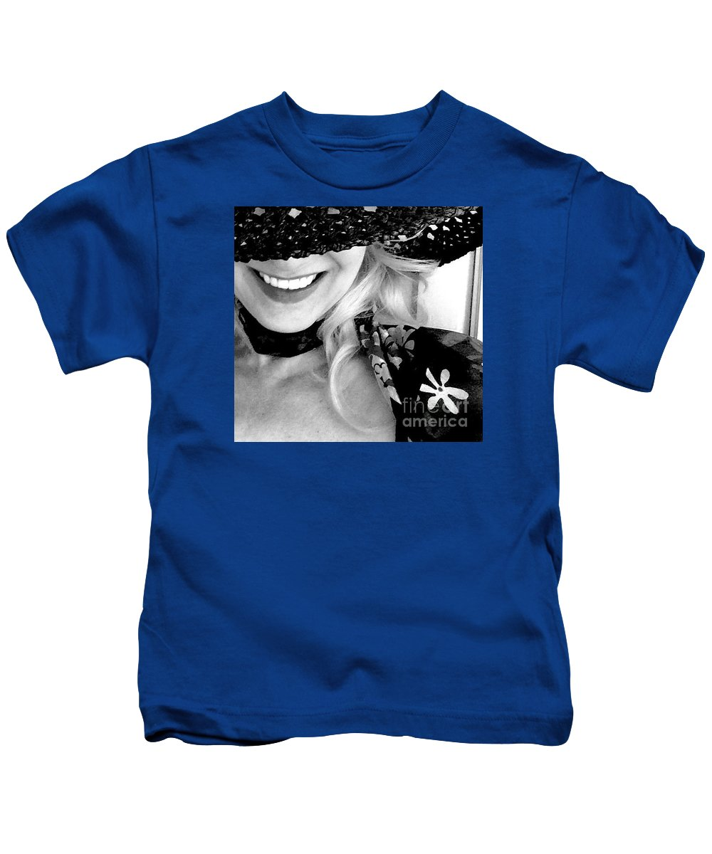 Hat Kids T-Shirt featuring the photograph The Hat Bw by Mioara Andritoiu