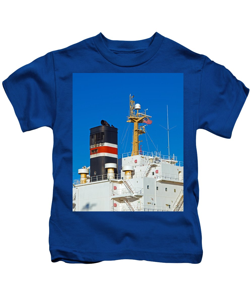 Cape; Canaveral; Port; Florida; Atlantic; Ship; Boat; Freight; Freighter; Bulk; Coal; Unloading; Loa Kids T-Shirt featuring the photograph Tramp Steamer Unloading Coal At Port Canaveral In Florida by Allan Hughes