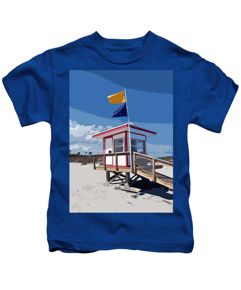 Florida Kids T-Shirt featuring the painting Jetty Park On Cape Canaveral In Florida by Allan Hughes