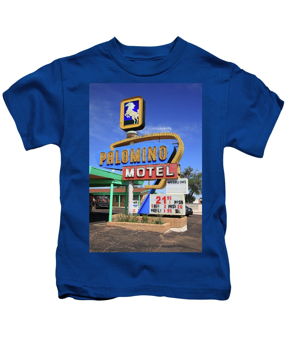 66 Kids T-Shirt featuring the photograph Route 66 - Tucumcari New Mexico by Frank Romeo