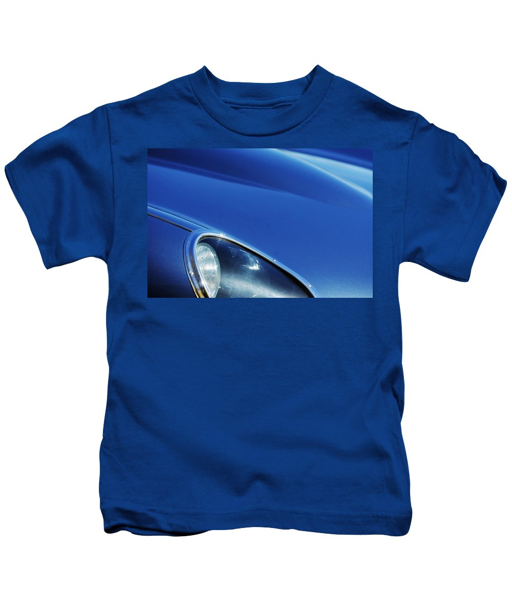 Transportation Kids T-Shirt featuring the photograph 1963 Jaguar Xke Roadster Headlight by Jill Reger