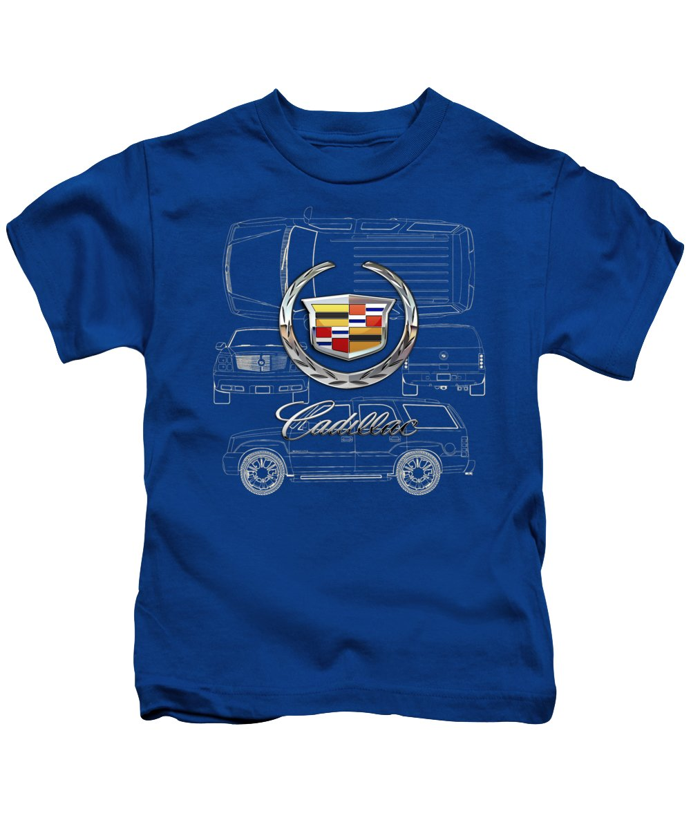 'wheels Of Fortune' By Serge Averbukh Kids T-Shirt featuring the photograph Cadillac 3 D Badge over Cadillac Escalade Blueprint by Serge Averbukh
