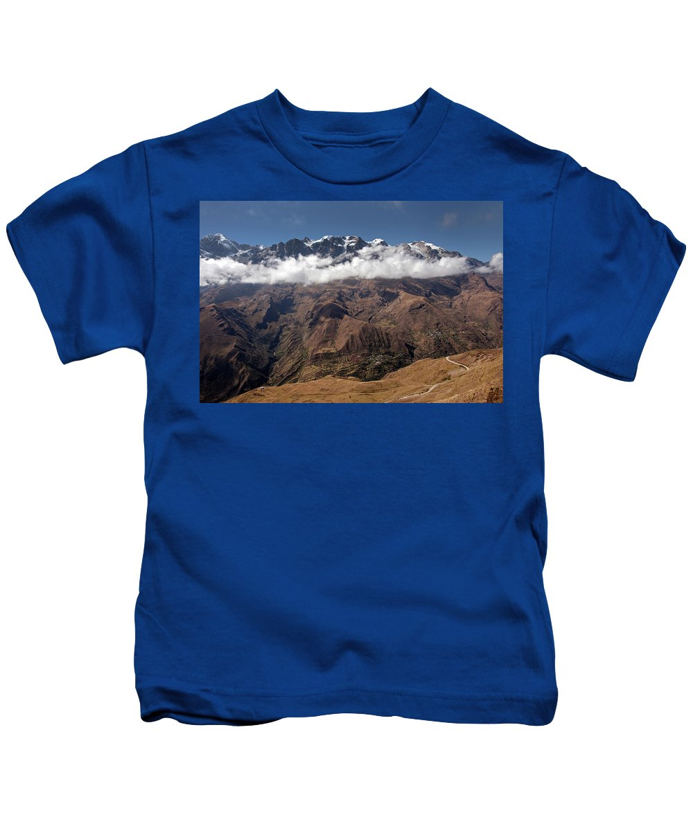 Cordillera Real Kids T-Shirt featuring the photograph Cordillera Real And Illampu by Aivar Mikko