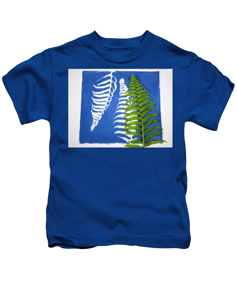 Calotype Kids T-Shirt featuring the photograph Cyanotype Print, Fern by Ted Kinsman