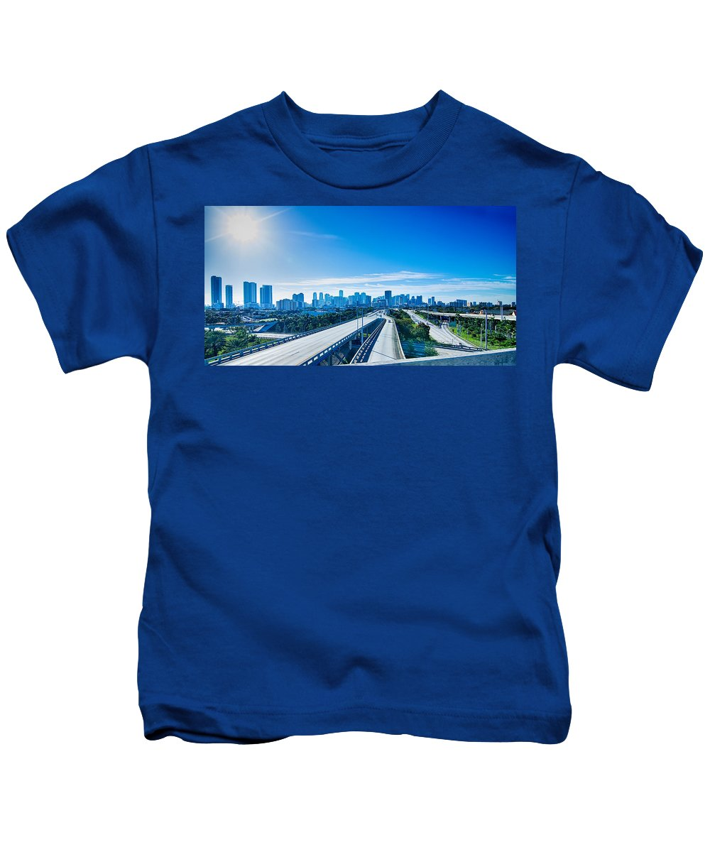 Miami Kids T-Shirt featuring the photograph Miami Florida City Skyline And Streets by Alex Grichenko